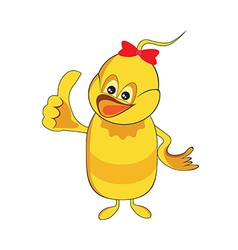 Cute baby duck cartoon thumb up vector image