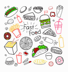 fast food hand drawn elements set with burgers vector image