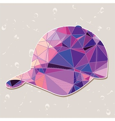Retro baseball cap made of triangles vector image vector image