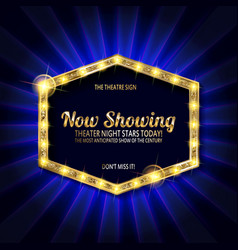 theater sign or cinema sign on curtain vector image