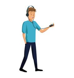 Young man listen music mp3 vector
