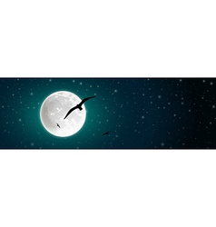 Moon and Birds vector image vector image