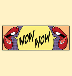 two female mouth shout wow vector image
