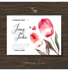 Wedding invitation card with watercolor flowers vector image