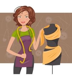 Woman seamstress near the manikin Dressmaker vector image vector image