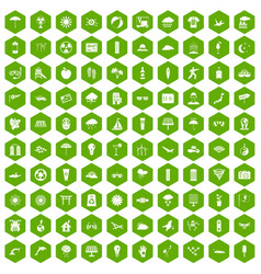 100 sun icons hexagon green vector