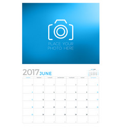 2017 wall calendar planner design template june vector