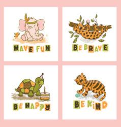 animal card set cute cartoon circus zoo hand drawn vector image