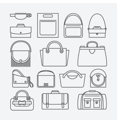 Bag thin line icons vector