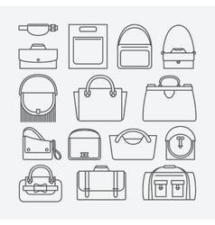 Bag thin line icons vector