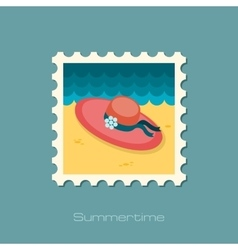 Beach hat flat stamp vector image
