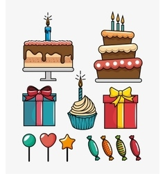 Birthday celebration set icons vector