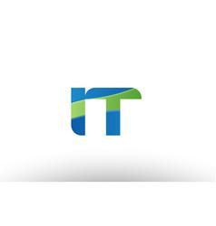 Blue green it i t alphabet letter logo vector
