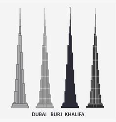 burj khalifa tower dubai skyscraper silhouette vector image