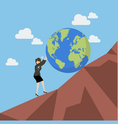Business woman pushing the world uphill vector
