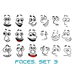 Cartoon doodle faces with different emotions vector image vector image