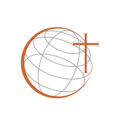 Christian church ministry world cross symbol vector