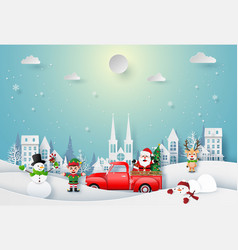 christmas character celebrate in town vector image