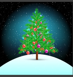 Christmas tree on snow hill vector