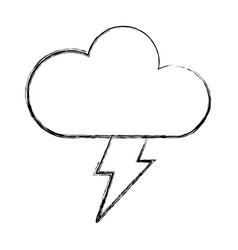 Cloud with ray climate isolated icon vector