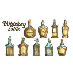 color scotch whisky bottle set vector image