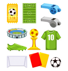 colorful cartoon soccer 11 elements set vector image
