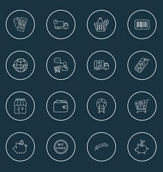 commerce icons line style set with savings add to vector image
