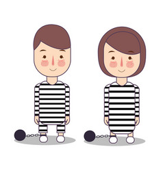 Convict criminal in striped uniform isolated on vector