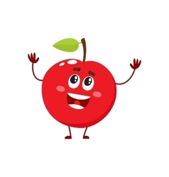 Cure and funny red apple character mascot vector image