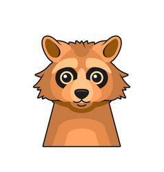 cute raccoon face cartoon style on white vector image