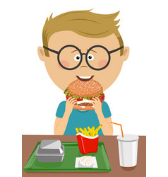 cute schoolboy eating burger in school canteen vector image
