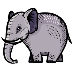 Decorative elephant painted with patterns for logo vector