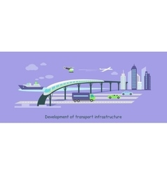 Development of Transport Infrastructure Icon Flat vector
