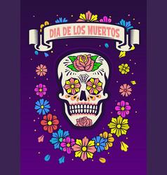dia de los muertos poster design vector image