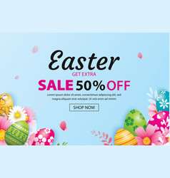 easter sale banner design template with colorful vector image