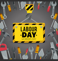 Emblem with construction tools to labour day vector