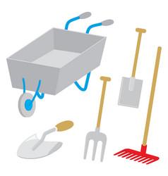 Equipment garden wheelbarrow fork trowel vector