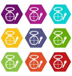 Face powder multicolor icons set 9 vector