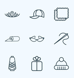 Fashionable icons line style set with winter hat vector