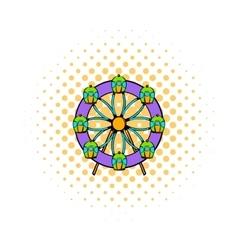 Ferris wheel icon comics style vector image