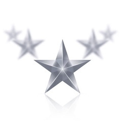 Five silver stars in the shape of wedge on white vector image