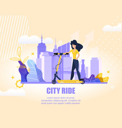 flat banner sports girl on scooter in city ride vector image