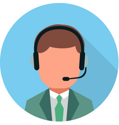 Flat call center icon vector