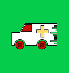 Flat icon design collection ambulance with a cross vector