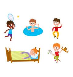 flat summer camp kids activity set vector image vector image