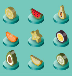 fruit flat isometric set vector image