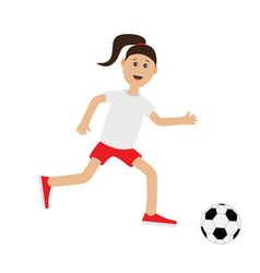 Funny cartoon running girl with soccer ball vector image