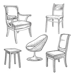 furniture set interior detail outline collection vector image