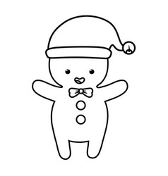 gingerbread man with hat decoration merry vector image