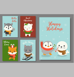 greeting card hand drawn doodle christmas set vector image